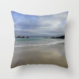 Winter Ocean Waves and Sky Cornwall Throw Pillow