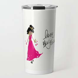 Love The Journey Girl in Pink Travel Mug