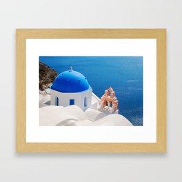 Blue Dome Church on Santorini Island Framed Art Print
