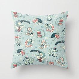 Winter herps Throw Pillow