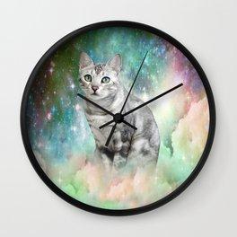 Purrsia Kitty Cat in the Emerald Nebula of Innocence Wall Clock
