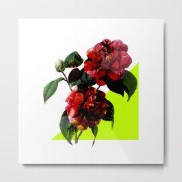 Vintage Blooms /Neon Wedge Metal Print
