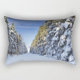 Trail through beautiful winter forest on a clear day Rectangular Pillow