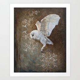 Flying grace - Barn owl painting Art Print