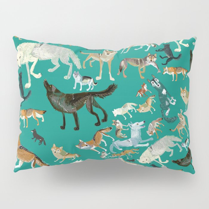 Wolves of the World Green pattern Pillow Sham