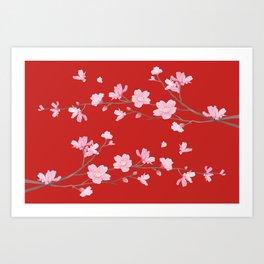Cherry Blossom - Red Art Print