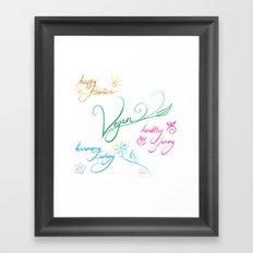 Vegan & happy lifestyle Framed Art Print