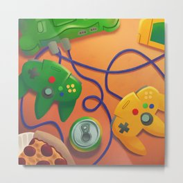 Pizza and Videogames Metal Print