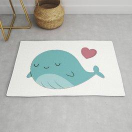 Kawaii Cute Blue Whale Rug