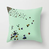 triangles Throw Pillows featuring Triangles by Jarvis Glasses