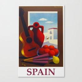 Vintage Spain Travel Poster - Guitar Canvas Print