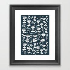 Navy Blooms Framed Art Print