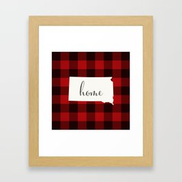 South Dakota is Home - Buffalo Check Plaid Framed Art Print