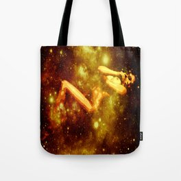 Golden Galaxy Woman : Nude Art Tote Bag