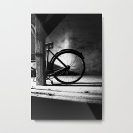 Old bicycle in a dusty attic Metal Print