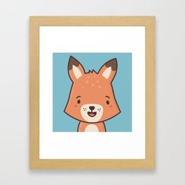 Kawaii Cute Red Fox Framed Art Print
