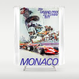 Gran Prix de Monaco, 1971, original vintage poster Shower Curtain