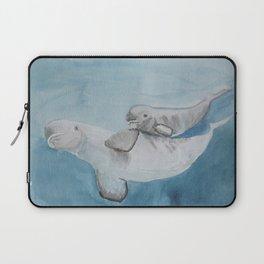 Beluga whale, mom and baby beluga illustration Laptop Sleeve