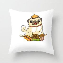 Cute & Funny Pug Puppy Dog Food Addict Throw Pillow