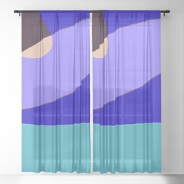 Minimal With Blue Sheer Curtain