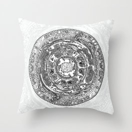 An Island Mandala - PEI, Canada - Original Colors - Black on White Throw Pillow