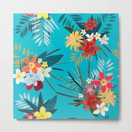 Frangipani, Lily Palm Leaves Tropical Vibrant Colored Trendy Summer Pattern Metal Print