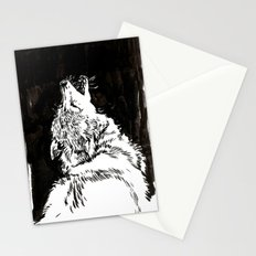 graphic wolf study Stationery Cards