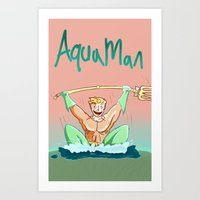 aquaman Art Prints featuring Aquaman by ClimbTheBell