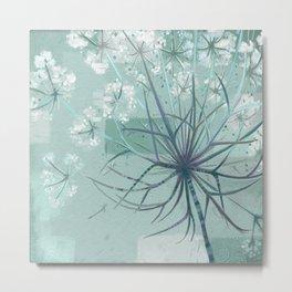 Sage Hogweed Floral Metal Print