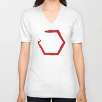 hexagon V-neck T-shirts featuring Red Hexagon by C Designz