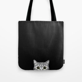 Curious Cat Peeking, Sneaky Kitty, Kitty Photography, Cat, Cats Tote Bag