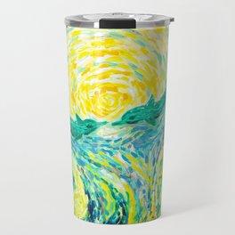 Dolphins - original impressionistic oil painting Travel Mug