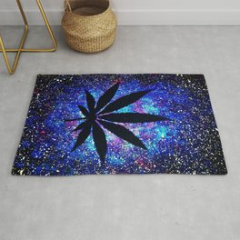 Galaxy Weed Leaf - Purple Rug