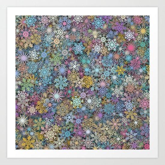 Snowflakes multicolor Art Print