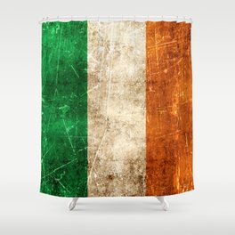 Vintage Aged and Scratched Irish Flag Shower Curtain