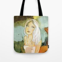 blondie Tote Bags featuring blondie  by Agnes Laczo