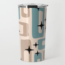 Retro Mid Century Modern Abstract Pattern 227 Blue and Beige Travel Mug