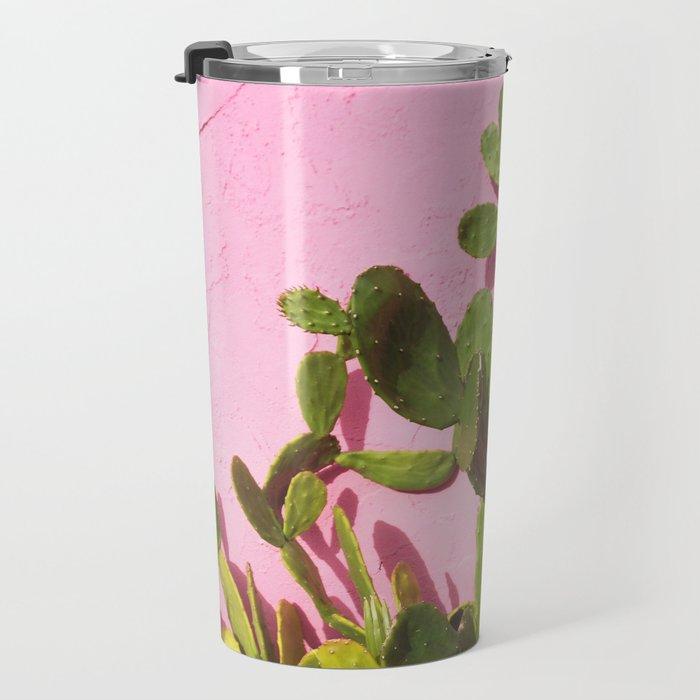 Pink Wall/Green Cactus  Travel Mug