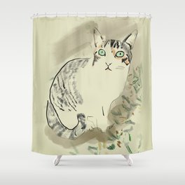 A cute kitten named Kiwi Shower Curtain
