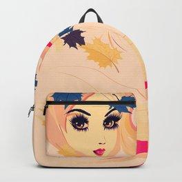 Fall leaves girl Backpack