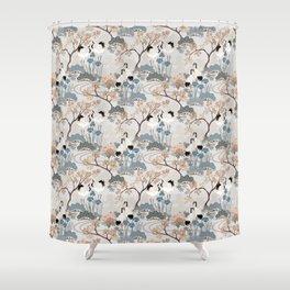 Japanese Garden Gray Shower Curtain