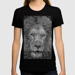 Be Strong, Be Motivated, Lion Word Printed White/Black Versions T-shirt