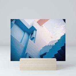 Muralla Roja blue and pink geometric walls Mini Art Print