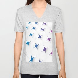 BLUE AND PURPLE STARS Abstract Art Unisex V-Neck