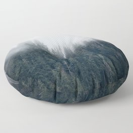 Misty Morning - Fog Rises off Mountains Revealing Forest in Washington Floor Pillow