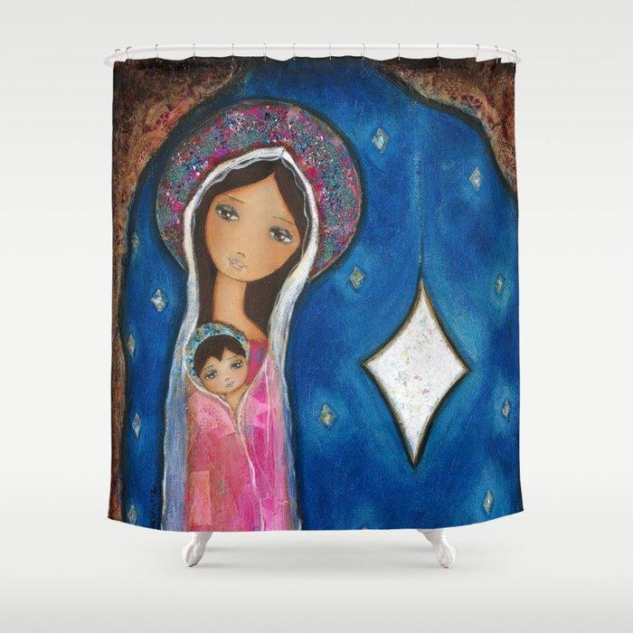 Nativity Star III By Flor Larios Shower Curtain