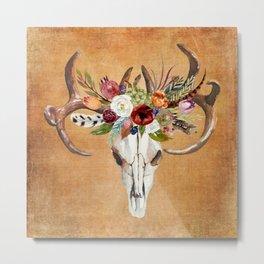 Boho Flower Skull on Ocre Canvas Metal Print