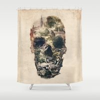 skull Shower Curtains featuring Skull Town by Ali GULEC
