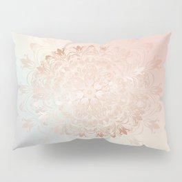 Rose Gold Blush Mint Floral Mandala Pillow Sham