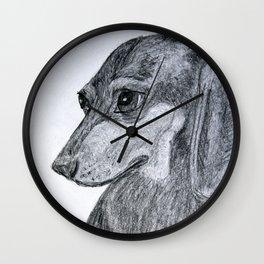 Dachshund Pet Portrait Drawing Wall Clock